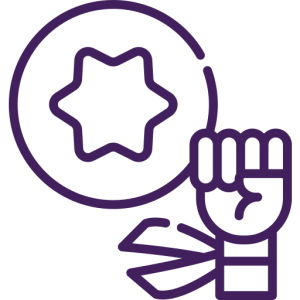 Icon depicting a person raising a fist in the air with a star in the space to the fist's left