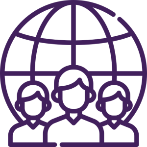 Icon depicting 3 individuals standing in front of a globe/world